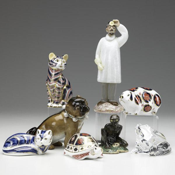 Eight assorted porcelain figural groupings,