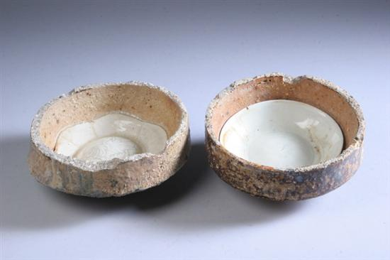 TWO CHINESE QINGBAI PORCELAIN SAGGARS, Song