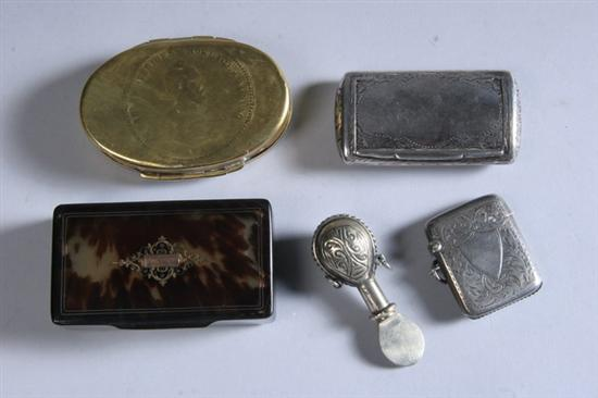 FOUR SNUFF BOXES AND A MATCH CASE.  Snuff