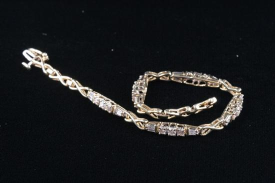 14K  YELLOW GOLD DIAMOND BRACELET,  Decorative