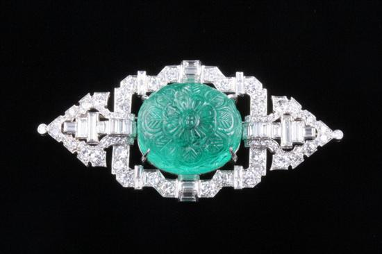 ART DECO PLATINUM, DIAMOND AND CARVED EMERALD