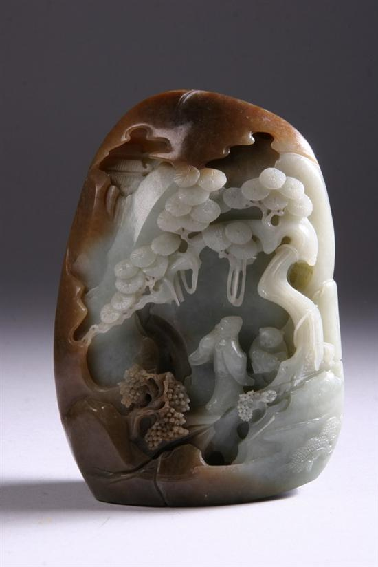CHINESE CELADON AND RUSSET JADE BOULDER .