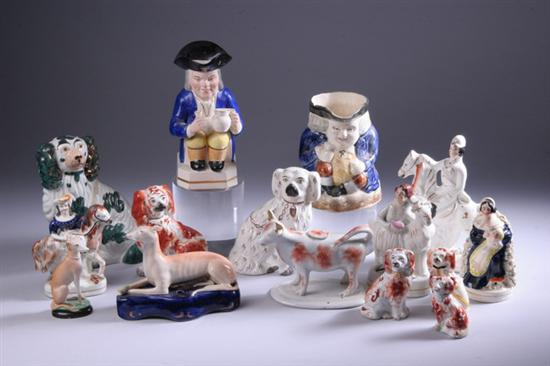 COLLECTION STAFFORDSHIRE POTTERY FIGURES.