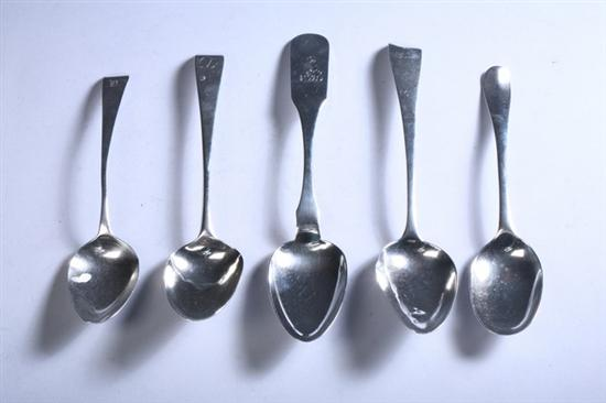 THREE GEORGE III SILVER SERVING SPOONS AND