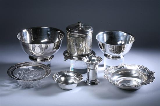 SEVEN PIECES STERLING AND SILVER PLATED HOLLOWWARE.