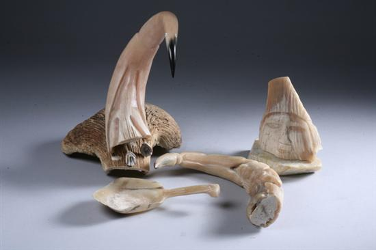 Price Guide For Four Inuit Carved Ivory And Bone Figures