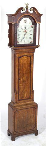 GEORGE III OAK AND MAHOGANY LONGCASE CLOCK,