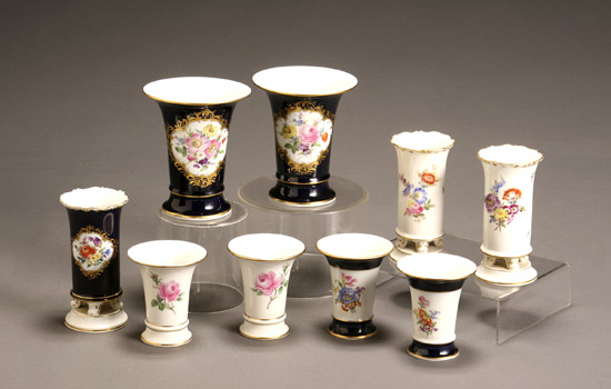 Price Guide For Group Of Nine Meissen Vases Early 20th Century Each