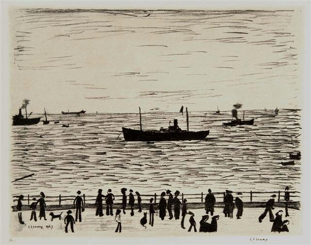 LAURENCE STEPHEN LOWRY (British, 1887-1976)'Seaside