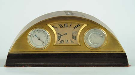 ART DECO DESK CLOCK. Semi-circular brass
