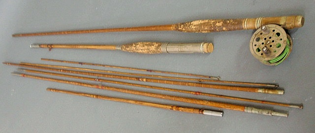 Two bamboo fly rods, one with reel. As found.