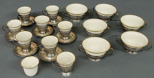 Six Lenox china and sterling silver bouillons