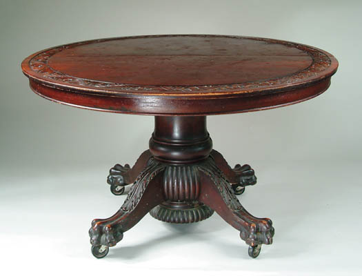 LARGE CARVED MAHOGANY VICTORIAN BANQUET TABLE.