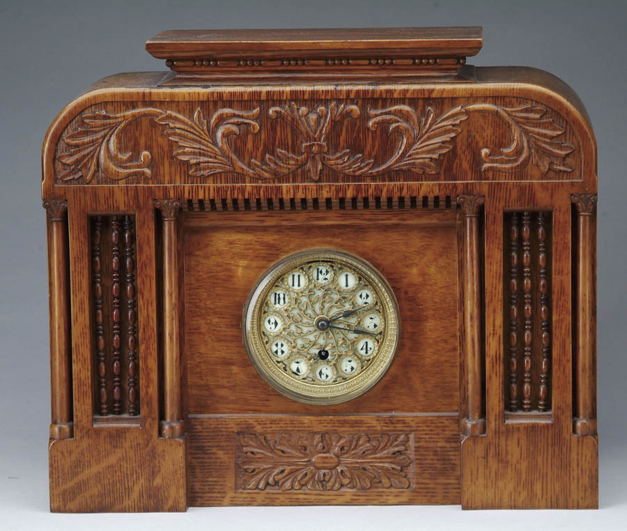 OAK MANTLE CLOCK BY BOSTON CLOCK CO. The