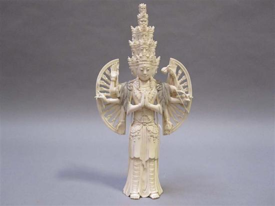 INDIAN CARVED IVORY FIGURE OF A ROBED GODDESS
