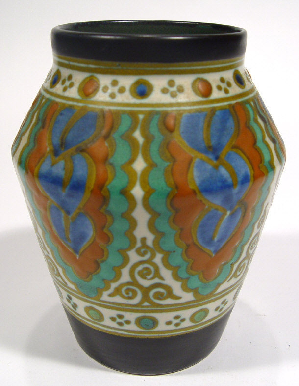 Gouda pottery vase with hand painted stylised