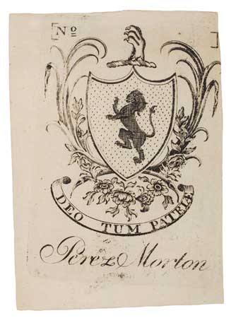 REVERE, PAUL. Bookplate engraved for Perez