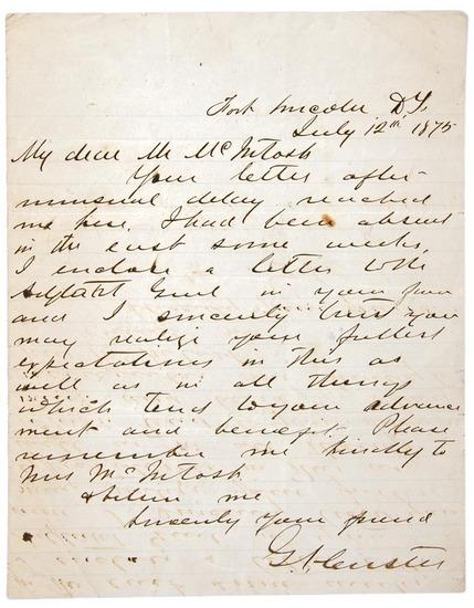 George Armstrong CUSTER.Autograph letter
