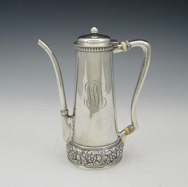 TIFFANY & CO. STERLING COFFEE POT: Floral