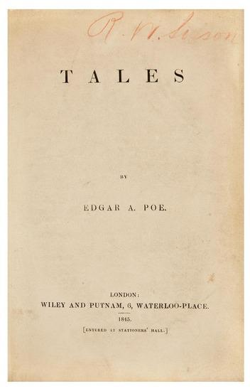 POE, Edgar Allan (1809-1849).Tales. London: