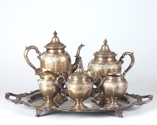Sterling silver coffee and tea service, five