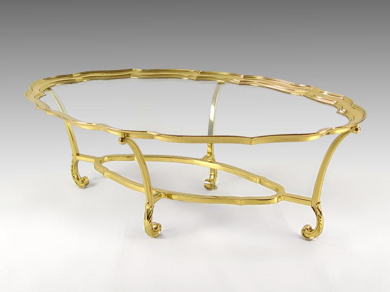 Labarge Brass Glass Coffee Table Model 8111 Finely Detailed Oval Cocktail Hand Cast In Solid And Polished To A Rous Finish 28