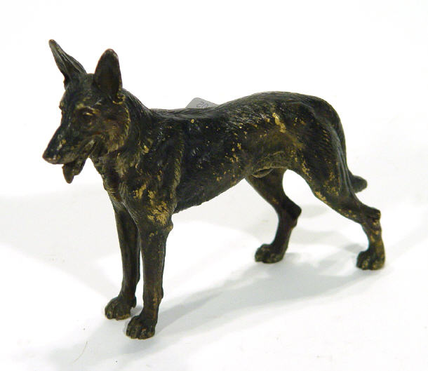 Large cold painted bronze German Shepherd