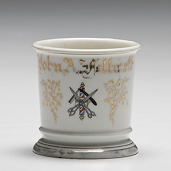 BARBER'S OCCUPATIONAL SHAVING MUG, porcelain,