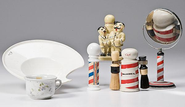 MISC. PORCELAIN BARBERSHOP ITEMS, includes