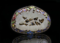 524. Carved Jade & Enameled Brooch