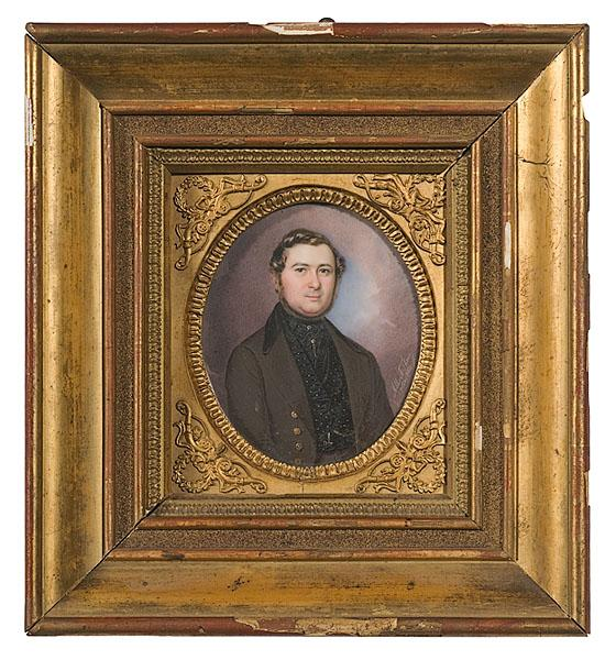 ALBERT THEER PORTRAIT MINIATURE OF GENTLEMAN,