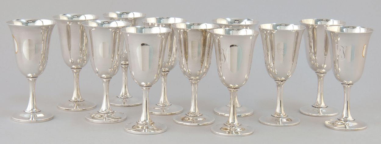 TWELVE WALLACE STERLING SILVER WATER GOBLETS