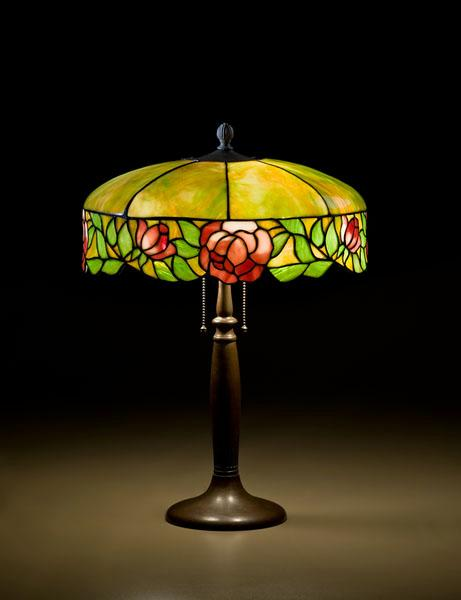 LEADED GLASS TABLE LAMP WITH HANDEL BASE,