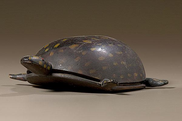 FOLK ART CARVED AND PAINTED TURTLE American,