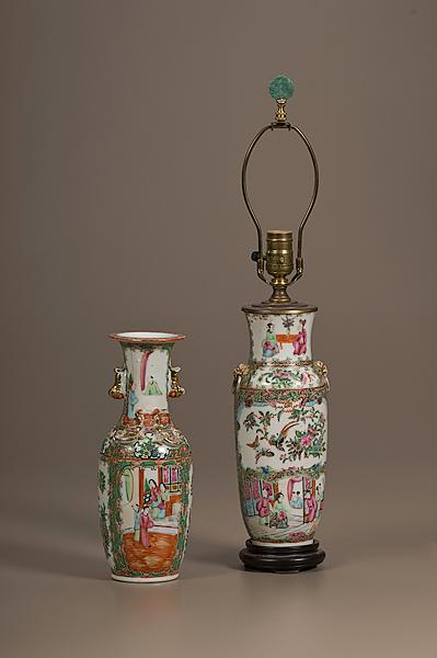 FAMILLE ROSE PORCELAIN VASE AND LAMP Chinese