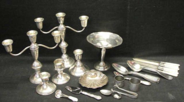 Mixed Lot of Silver & Silverplate. 2 weighted