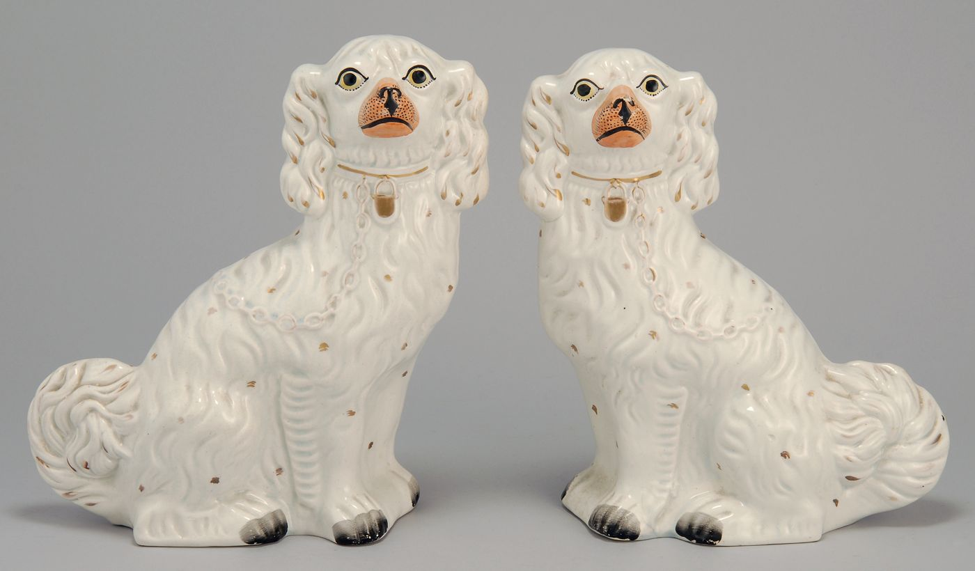 PAIR OF STAFFORDSHIRE POTTERY DOGS 19th CenturyIn