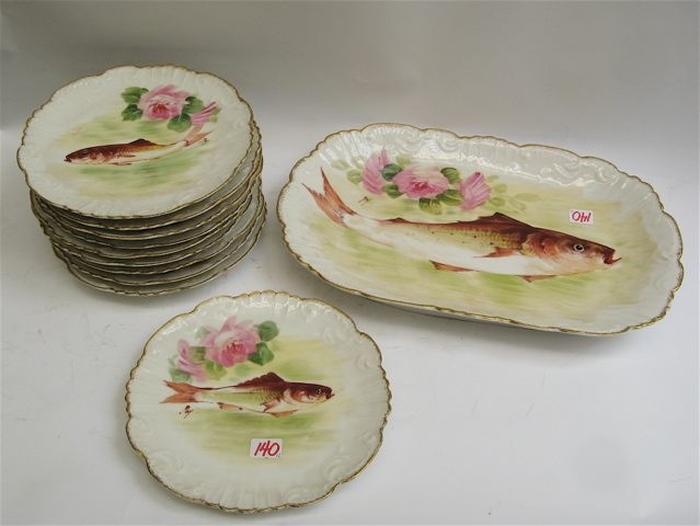 LDBC FLAMBEAU, LIMOGES PORCELAIN FISH SET,