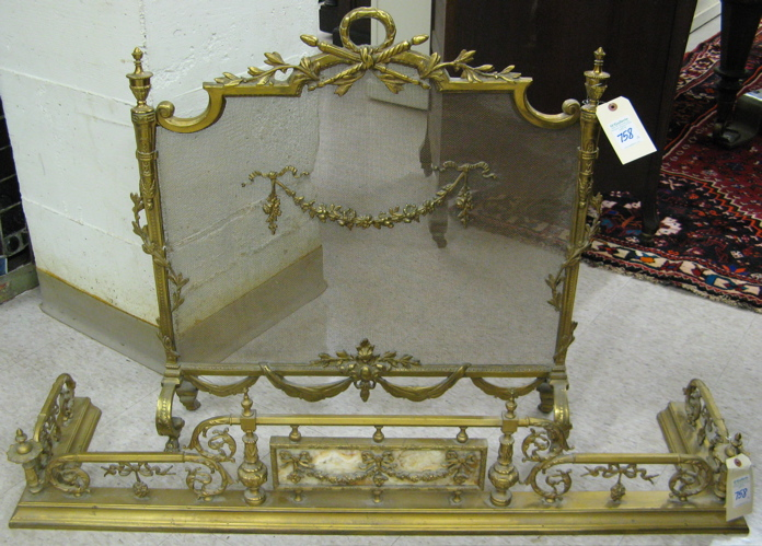 LOUIS XV/XVI STYLE FIREPLACE SCREEN AND CURB,