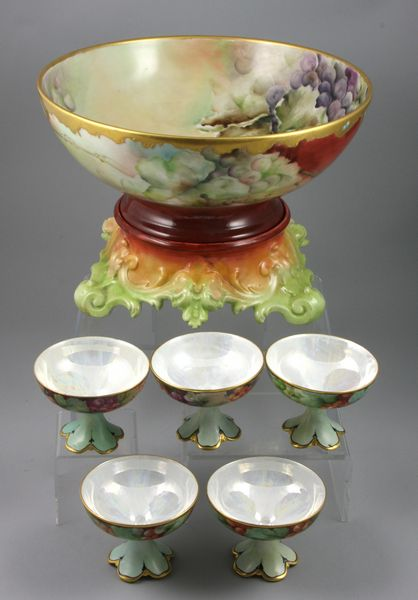 Early 20th Century hand-painted Limoges punch