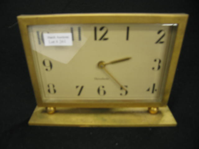 Herschede Deco Desk Clock, rectangular brass