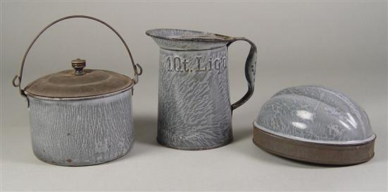 Three Pieces Grey Enamelware