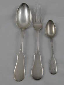 A large Russian silver table spoon and fork