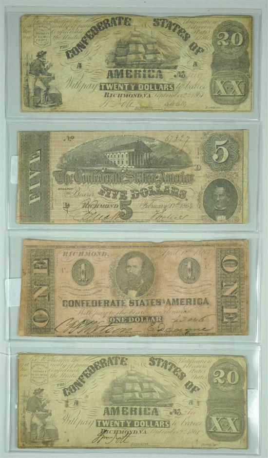 Four Confederate Notes