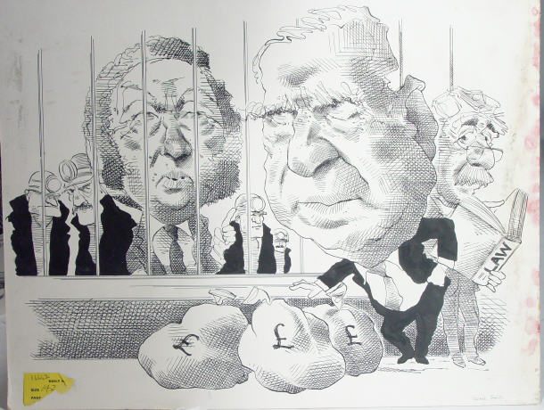 Original ink political caricature depicting
