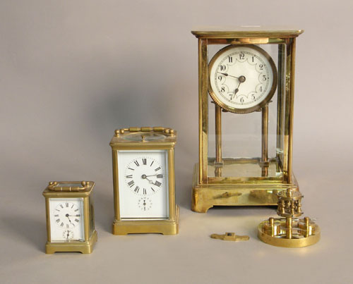 Three miscellaneous brass clocks, to include