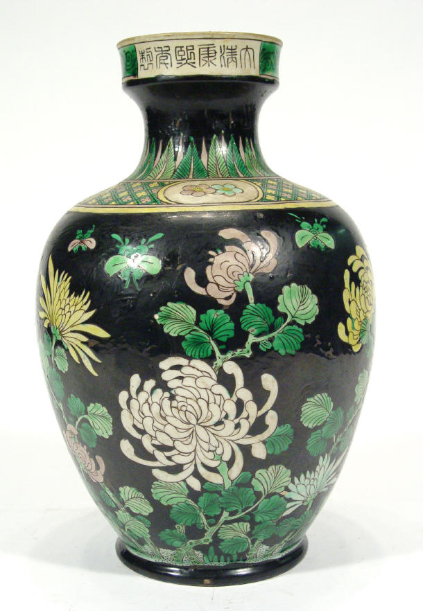 Chinese famille verte vase, enamelled with