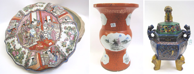 THREE PIECES CHINESE PORCELAIN AND POTTERY: