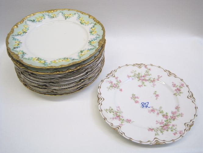 ELEVEN LIMOGES FRANCE PORCELAIN DINNER PLATES,