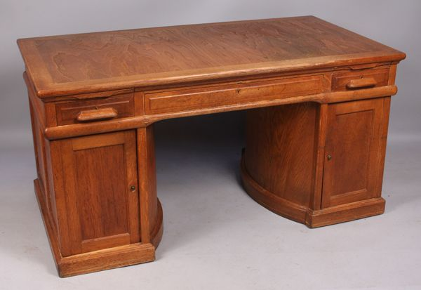 Oak Wooton rotary desk with original factory